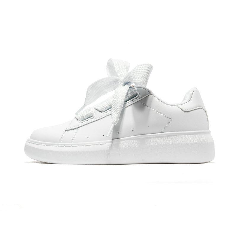 特步 女子休闲板鞋 宽织带蝴蝶结板鞋潮流运动鞋881118319252