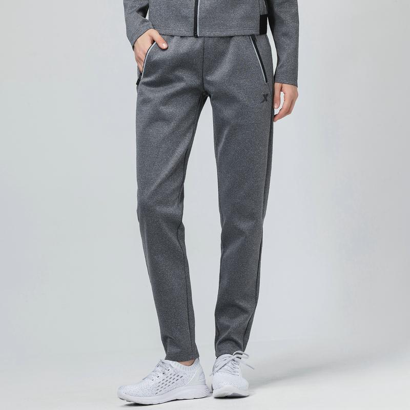 特步 女子运动裤 冬新款针织拉链口袋保暖休闲裤882428639517