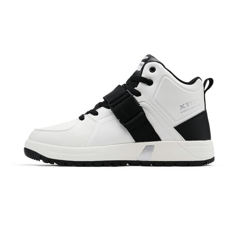 特步 女子棉鞋 冬季新款中帮加绒保暖运动板鞋休闲鞋882418379563