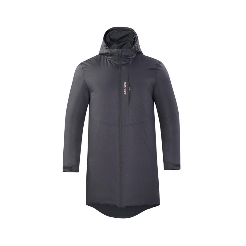 特步 男子运动羽绒服 2018冬新款长款保暖连帽外套882429199119