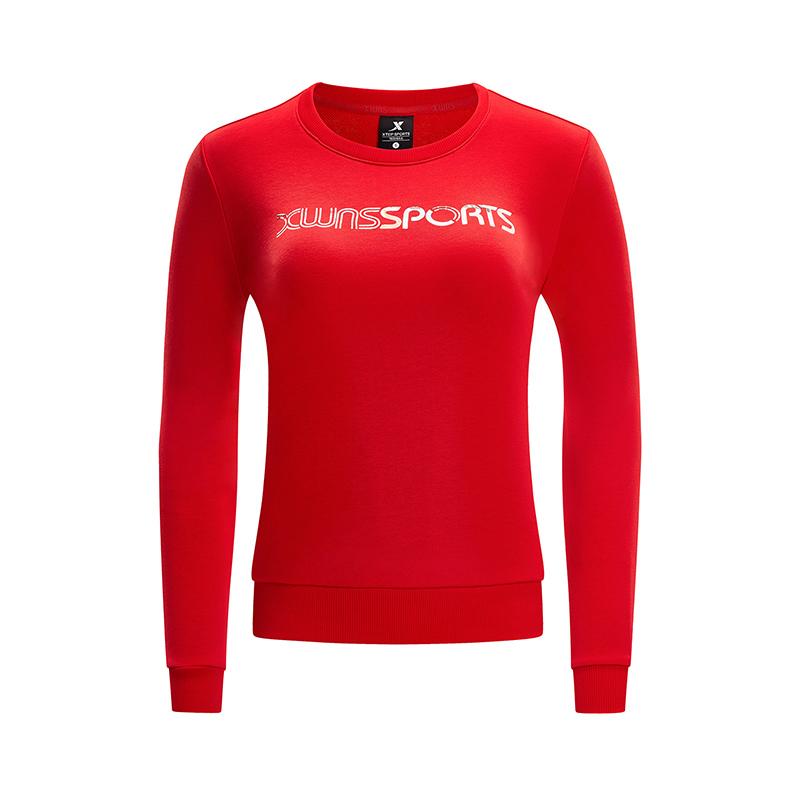 特步 专柜款 女子卫衣2019春季新款字母纯色圆领运动套头衫女981128051893