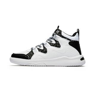 特步 专柜款 男子板鞋 冬季新款运动休闲黑白高帮鞋982419315998