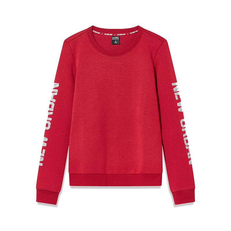特步 专柜款 女子卫衣 冬季新款休闲圆领简约套头衫982428051760
