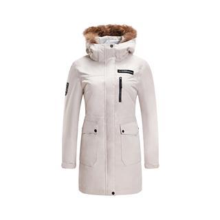特步 专柜款 女子羽绒服 冬季新款简约休闲户外保暖连帽外套982428190768