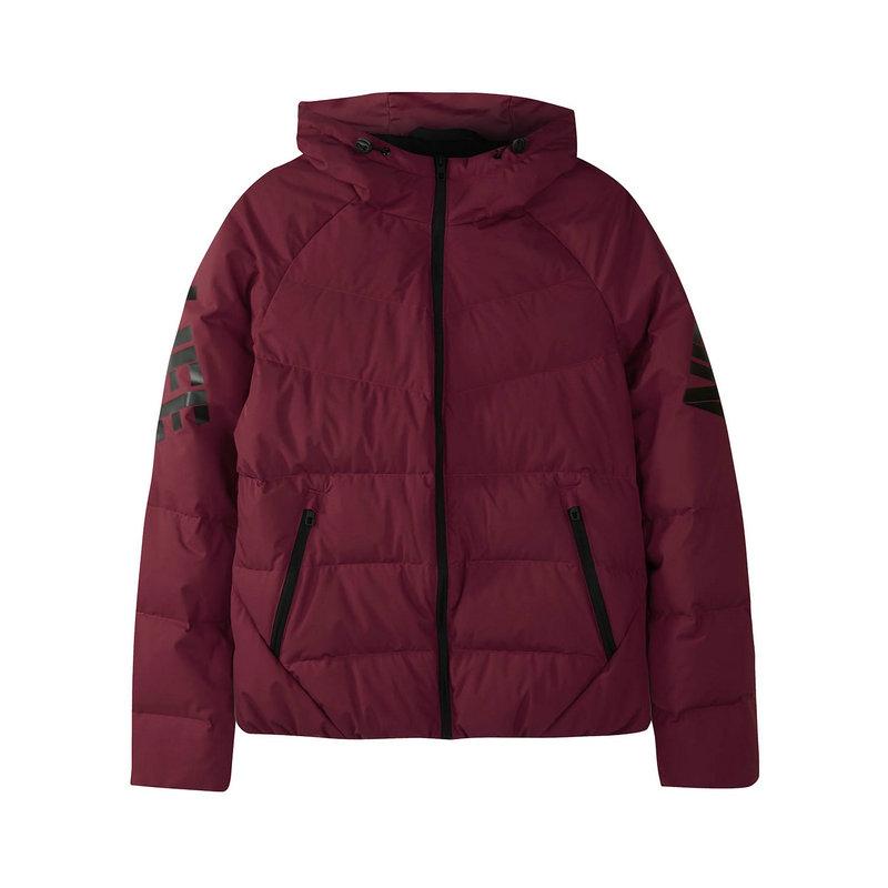 特步 专柜款 女子羽绒服 冬季新款字母保暖简约连帽外套982428190817