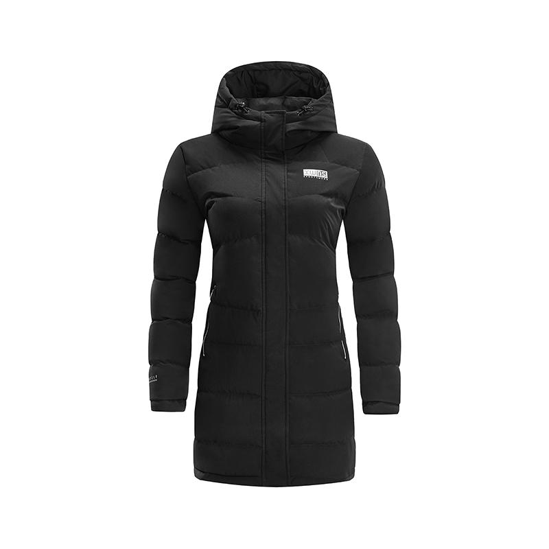特步 专柜款 女子羽绒服 冬季新款简约休闲保暖中长款连帽运动外套982428190878