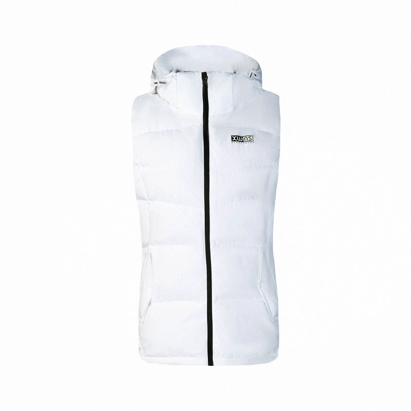 特步 专柜款 女子羽绒马甲 冬季新款连帽休闲保暖短款外套982428260041