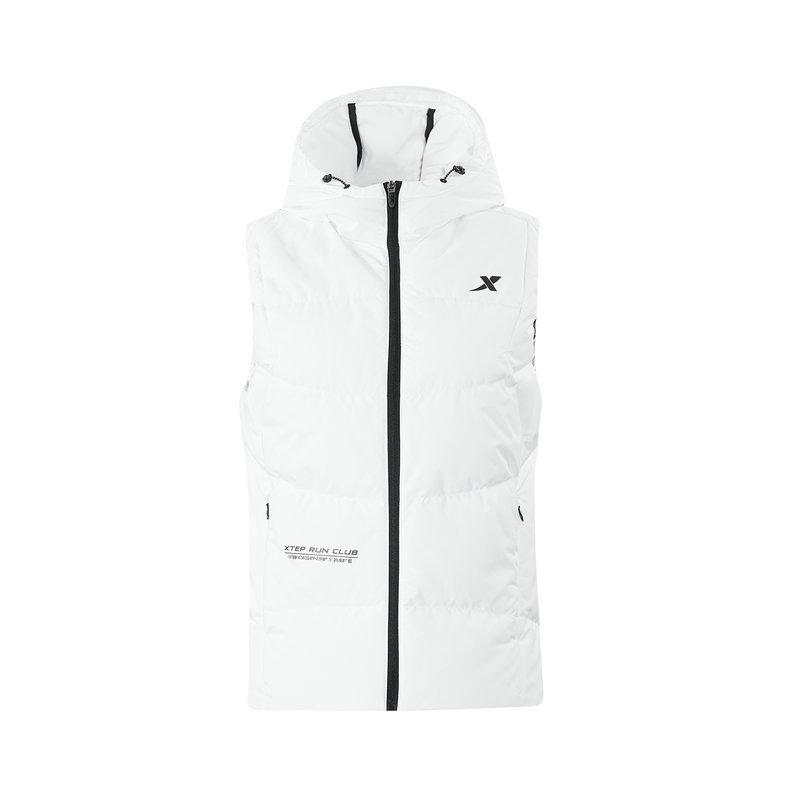 特步 专柜款 女子羽绒马甲 冬季新款休闲运动连帽保暖健身外套982428260054
