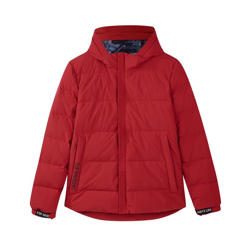 特步 专柜款 男子羽绒服 冬季新款休闲保暖连帽运动短款外套982429190824