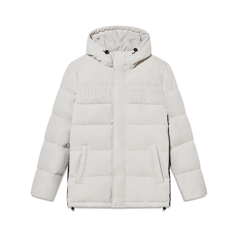 特步 专柜款 男子羽绒服 冬季新款时尚都市保暖运动连帽外套982429190829