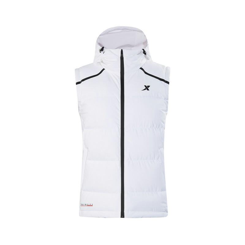 特步 专柜款 男子羽绒马甲 冬季新款运动休闲保暖连帽外套982429260042
