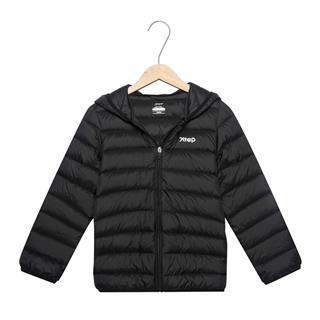 特步 儿童羽绒服 男女童同款短款保暖连帽拉链时尚休闲运动外套882426199547