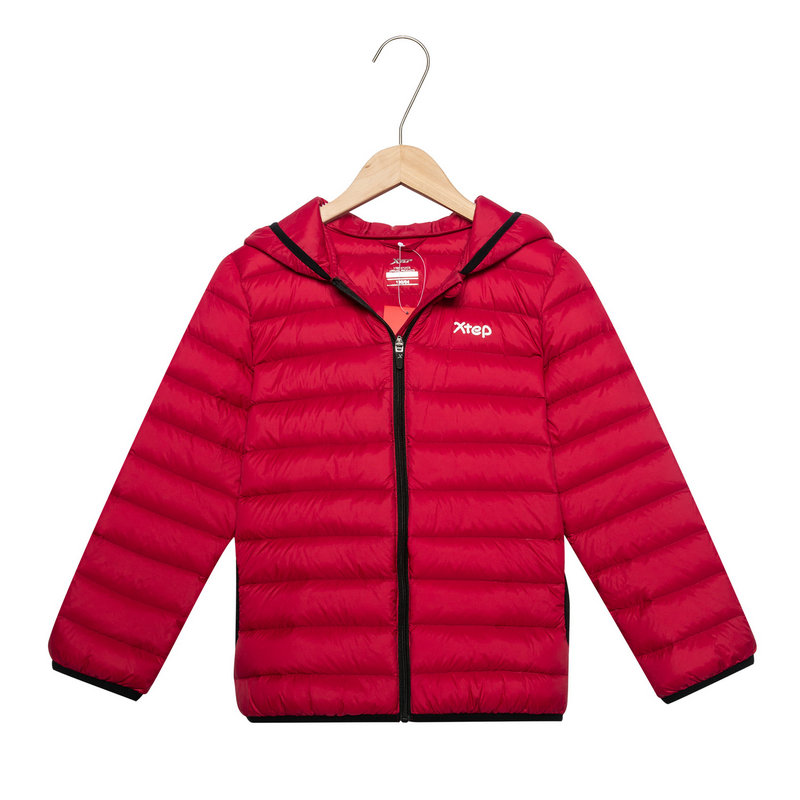 特步 儿童羽绒服 男童女童同款冬季新款保暖连帽轻便舒适外套882426199546