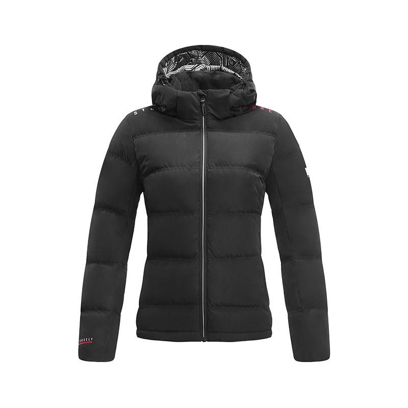 特步 专柜款 女子羽绒服 冬季新款简约保暖短款连帽运动外套982428190869