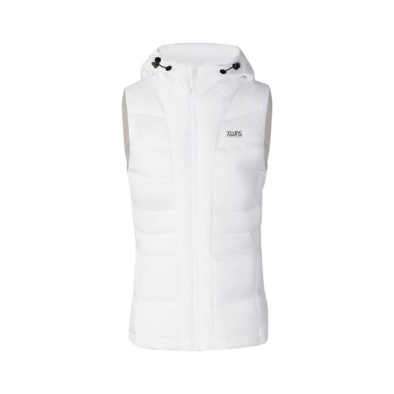 特步 专柜款 女子羽绒马甲 冬季新款休闲保暖连帽运动外套982428260048