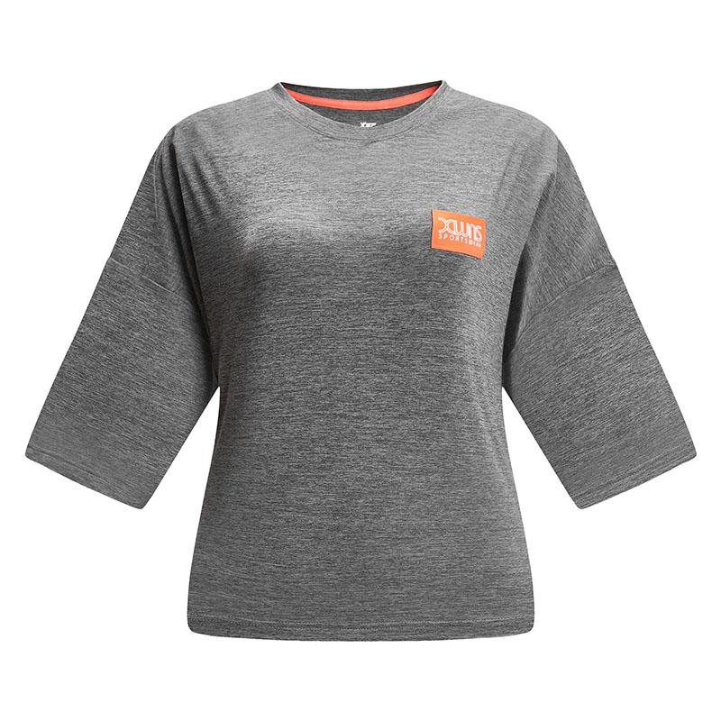 特步 女子春季新款短袖针织衫运动健身T恤881128019007