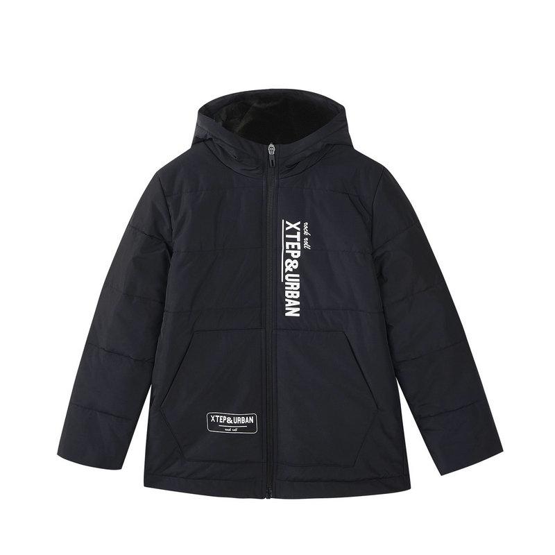 特步 男童棉服 冬季新款休闲纯色儿童保暖外套682425189050