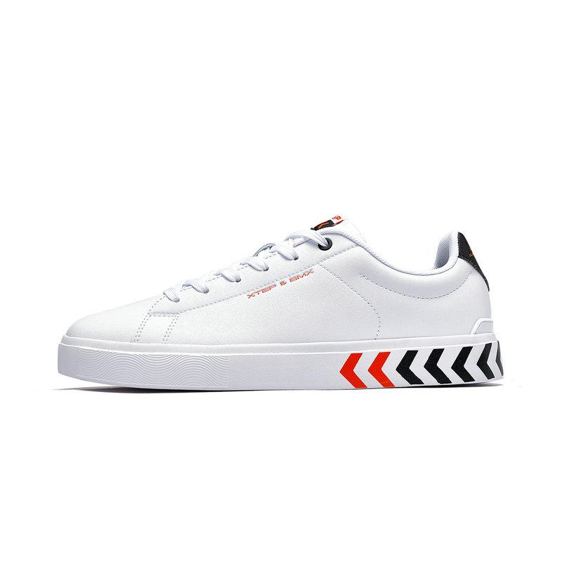 特步 专柜款 男子板鞋 2019春季新款时尚革面休闲百搭小白鞋981119316021