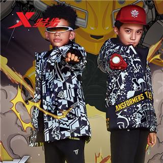 【变形金刚联名款】特步 专柜款 男童羽绒服 冬季新款儿童中长款保暖外套682425194108