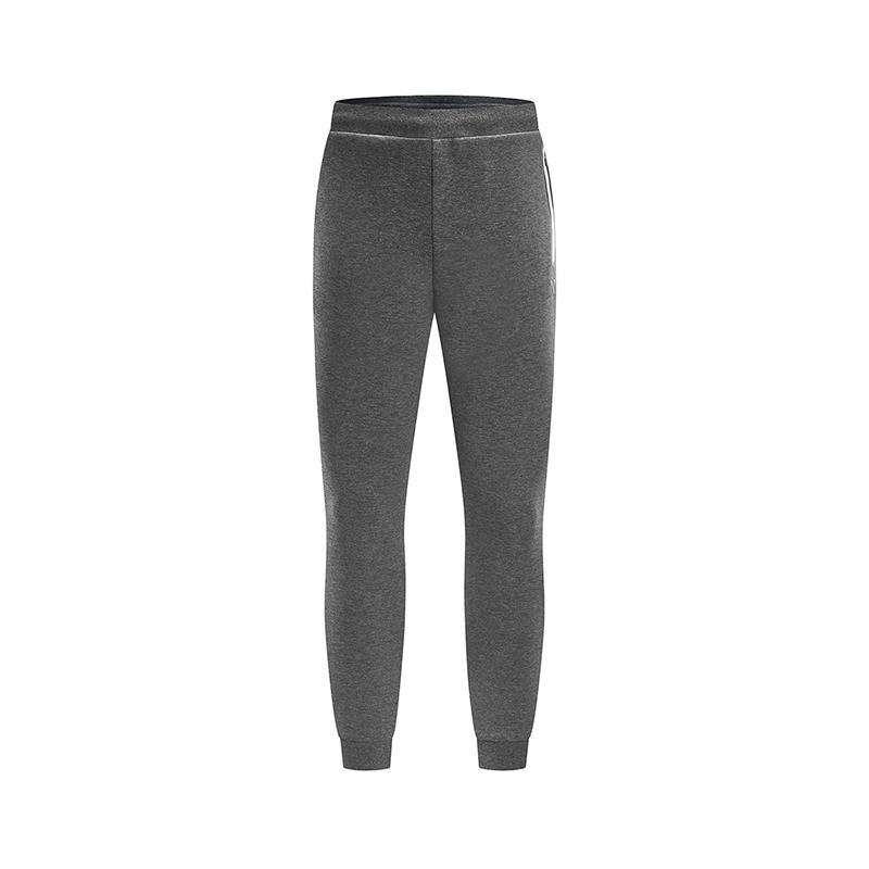 特步 男子春季基础运动收脚纯色舒适透气针织长裤881129639103