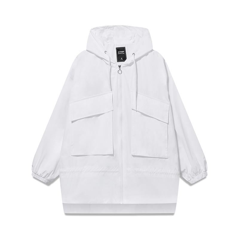 特步 专柜款 女子双层夹克 2019春季新款都市潮流时尚口袋连帽外套981128120829