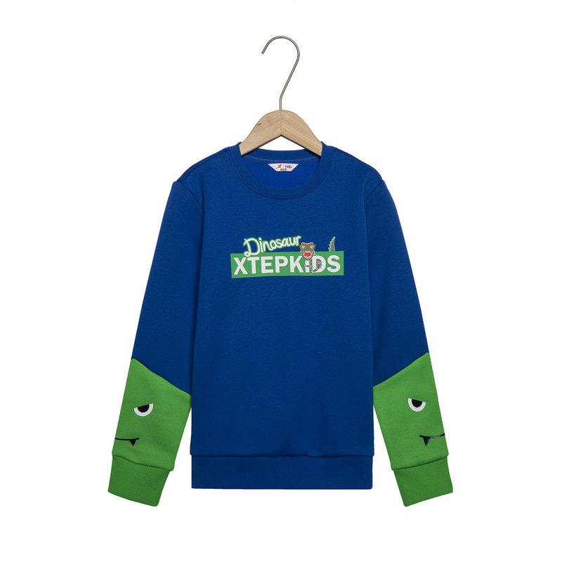 特步 男童春季户外运动时尚百搭套头儿童卫衣681125209037