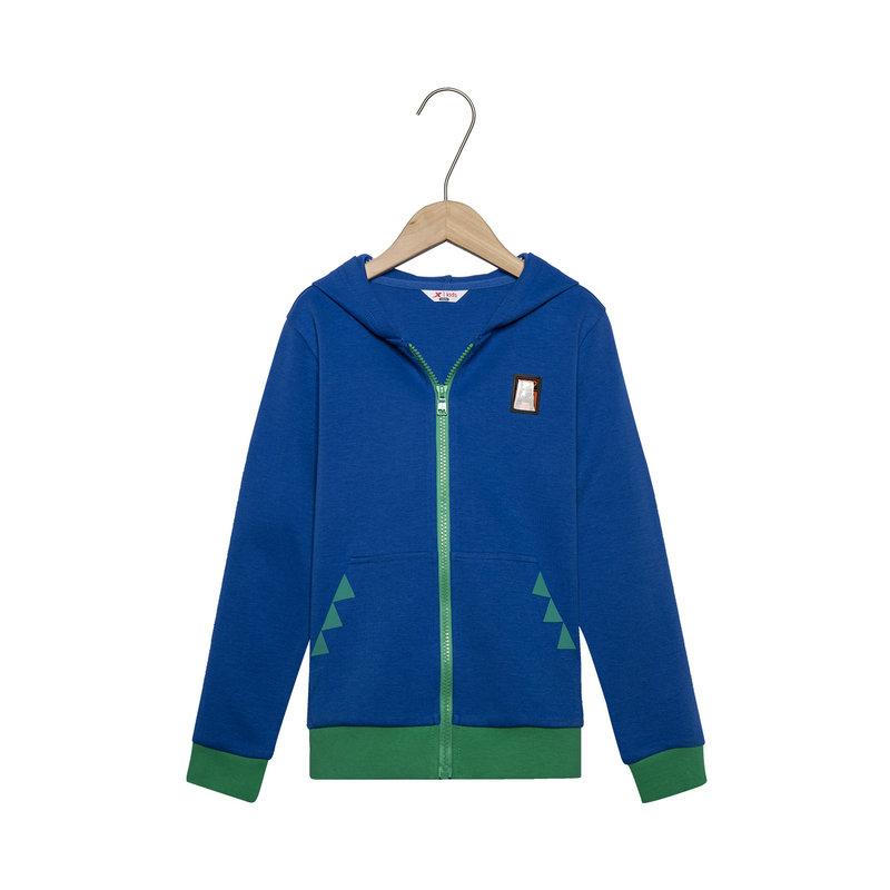 特步 男童春季户外活力舒适百搭儿童针织连帽上衣外套681125249041