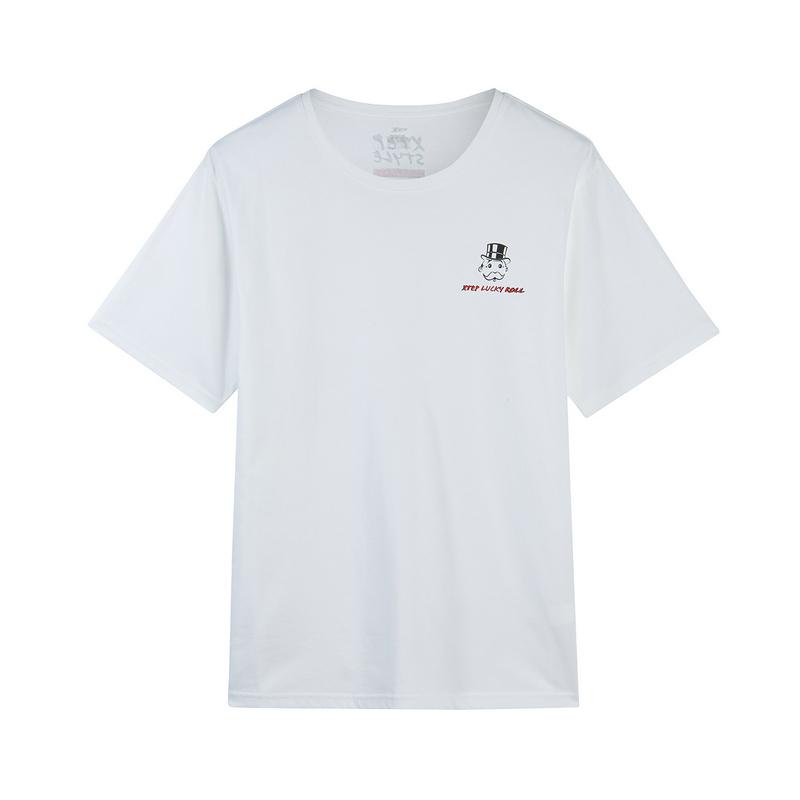 【地产大亨联名款】特步 男子短袖针织衫 2019春季新款舒适休闲T恤881129019404