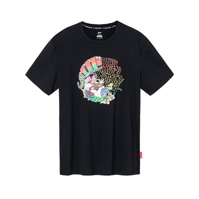 特步 男子短袖针织衫 2019夏新品图案风格街头运动T恤881229019229