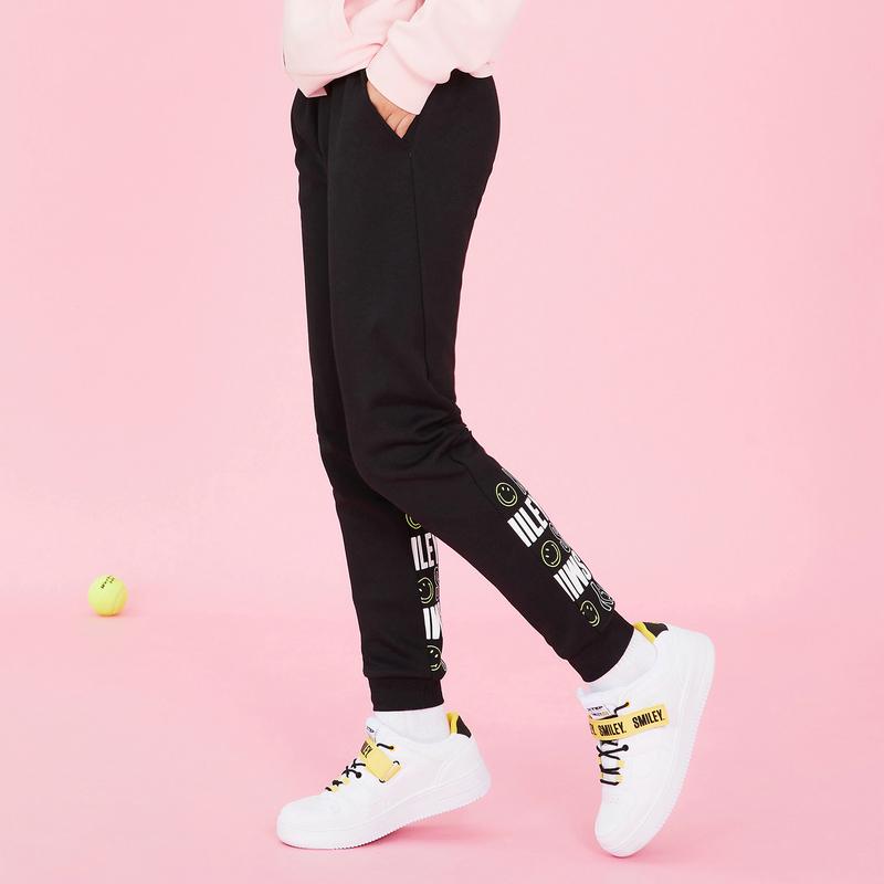 【Smiley联名款】特步 专柜款 女子针织裤2019春季新款收脚长裤981128631628