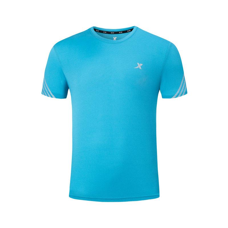 特步 专柜款 男子短袖马拉松短T新品简约透气运动短袖休闲T恤981129012488
