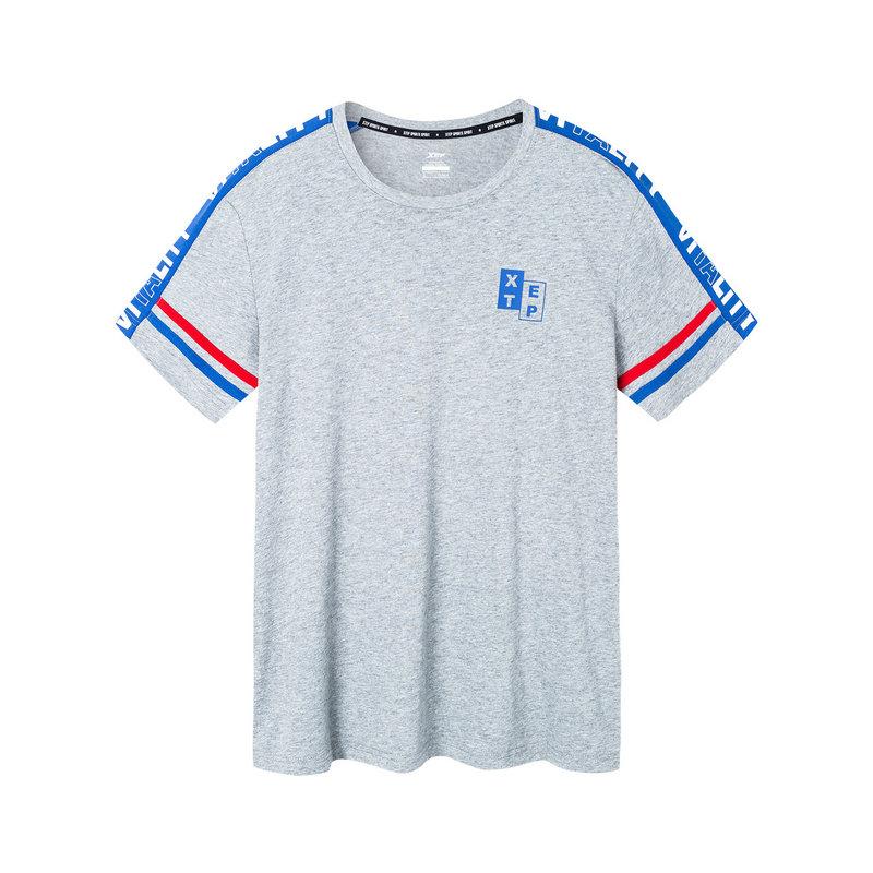 特步 男子短袖针织衫 2019春季新款圆领透气舒适轻薄运动T恤881129019030