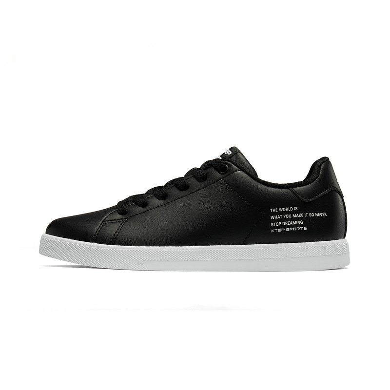 特步 女子板鞋 2019春季新款简约革面轻便舒适滑板鞋881218319859