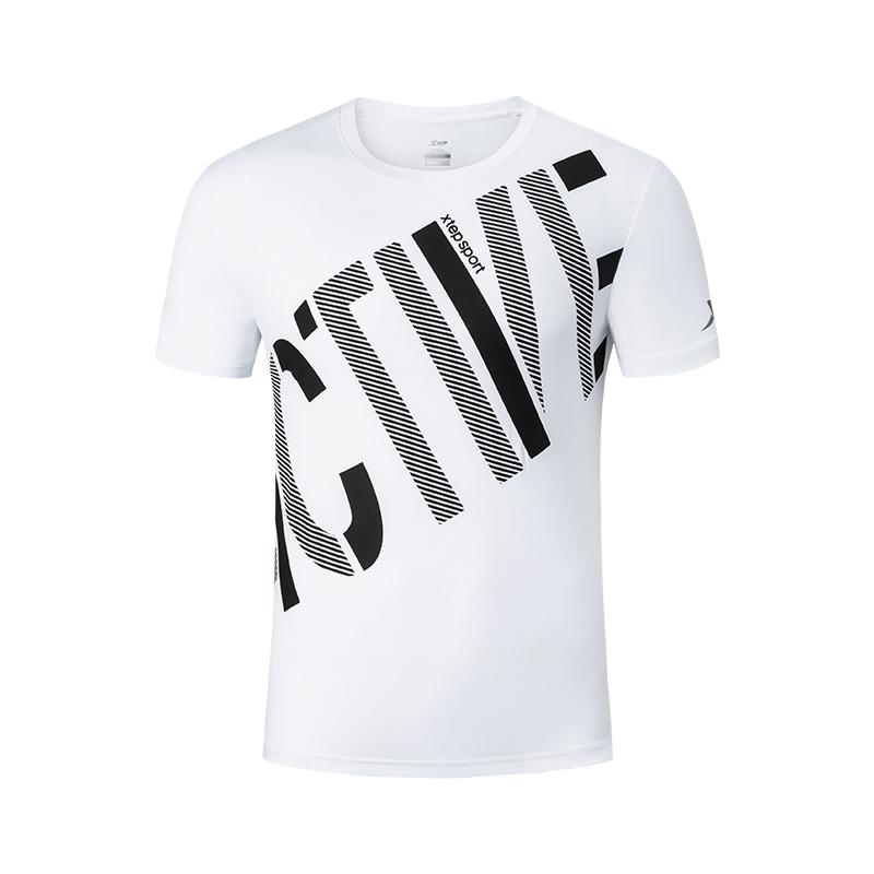 特步 男子短袖针织衫 2019春夏新款舒适基础运动T恤881229019102