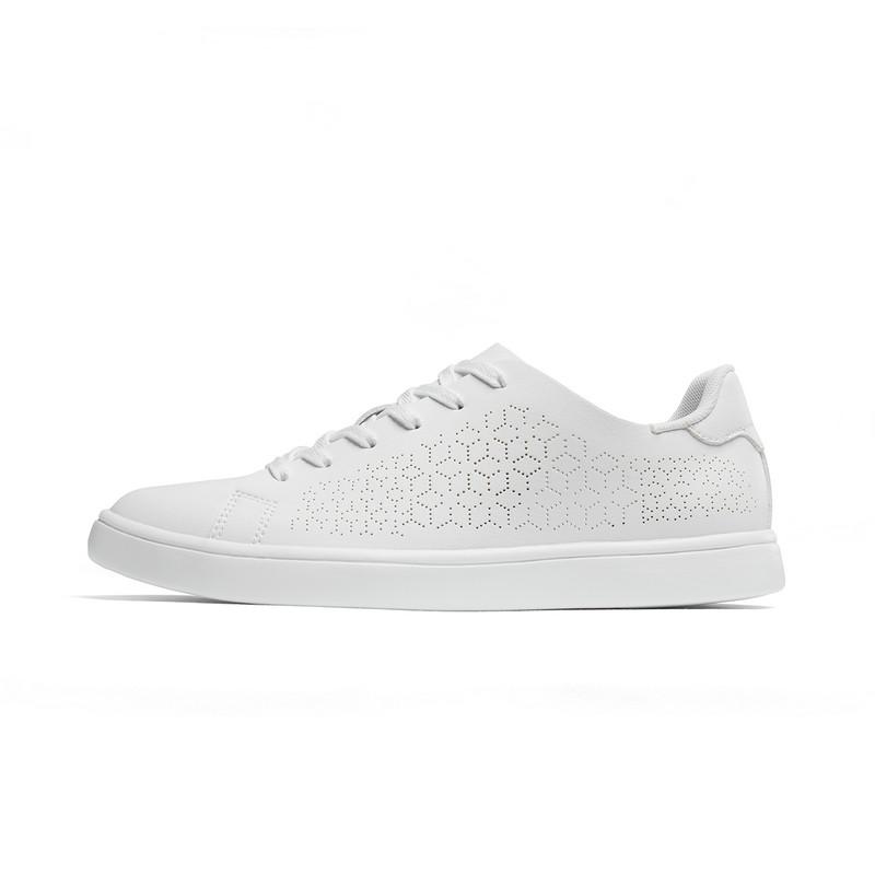 特步 女子板鞋 2019夏季新款网面透气轻便小白鞋881218319523