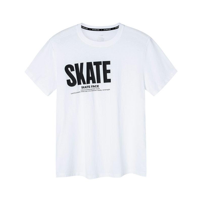 特步 男子短袖针织衫 2019夏季新款字母印花透气舒适T恤881229019126