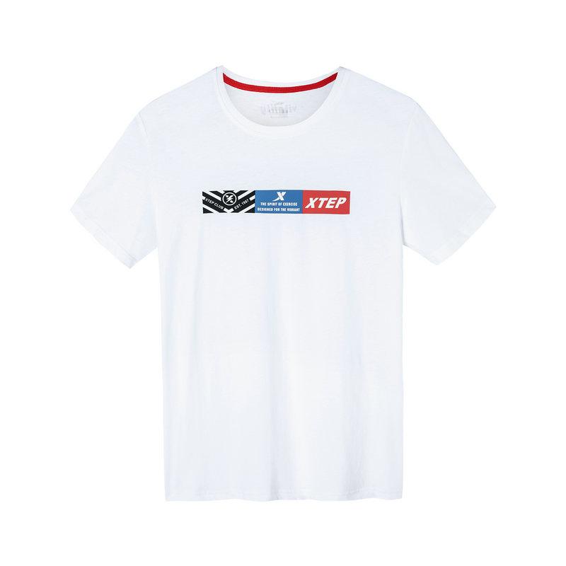 【满200减50】特步 男子短袖针织衫 2019夏季新款简约透气轻薄运动T恤881229019023