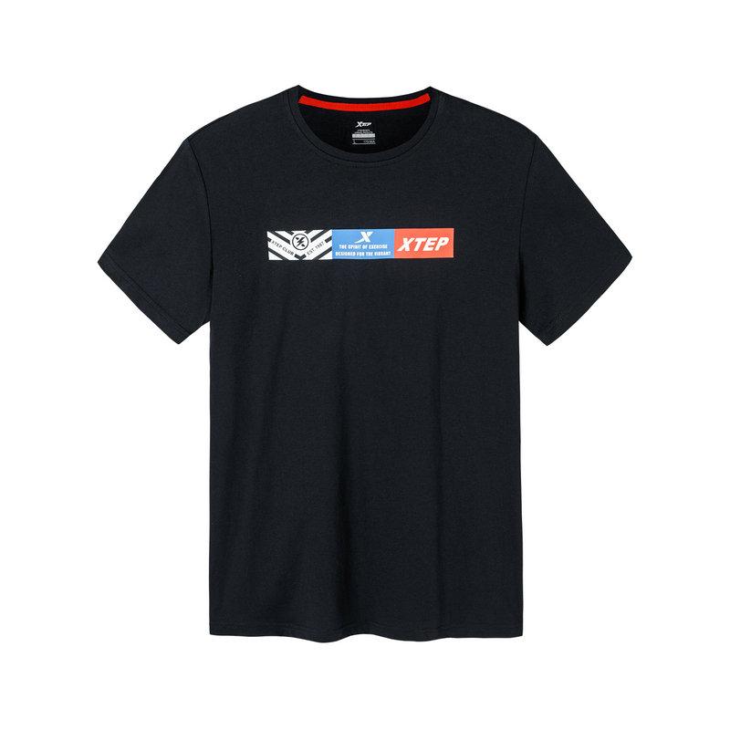 【2件99】特步 男子短袖针织衫 2019夏季新款简约透气轻薄运动T恤881229019023