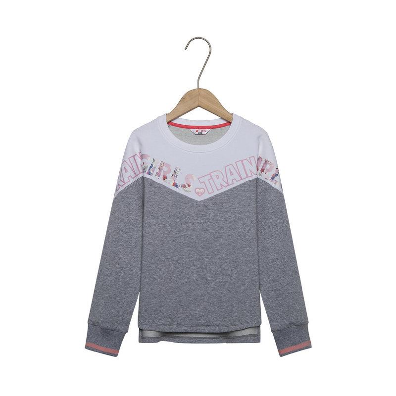 特步 女童套头卫衣 春季时尚拼接新款都市儿童针织上衣681124209030