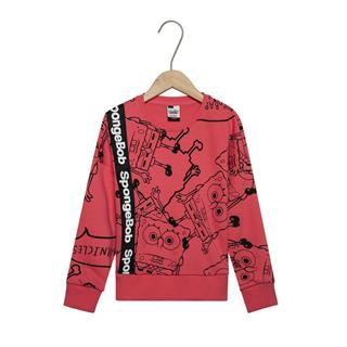 特步 女童卡通卫衣 春季新款都市时尚百搭儿童套头针织上衣681124209032