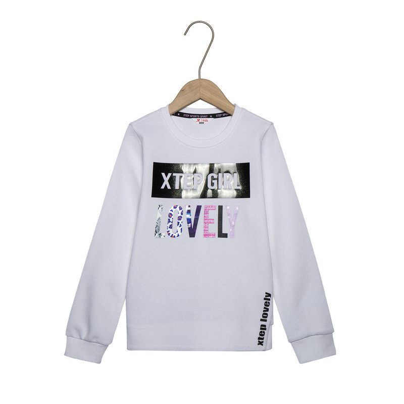 特步 女童都市卫衣 春季套头时尚简约字母儿童针织上衣681124209063