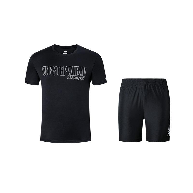特步 男子套装 2019年夏季新款跑步运动针织套装881229959238