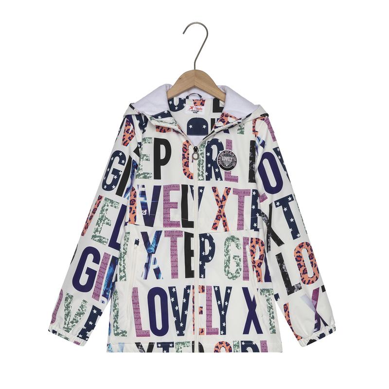 特步 专柜款 女童保暖风衣春季都市字母潮流时尚儿童风衣681124333041