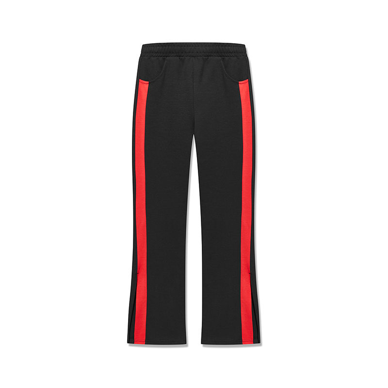 特步 专柜款 女子针织长裤 2019春季新款潮流条纹宽松阔腿裤981128631633
