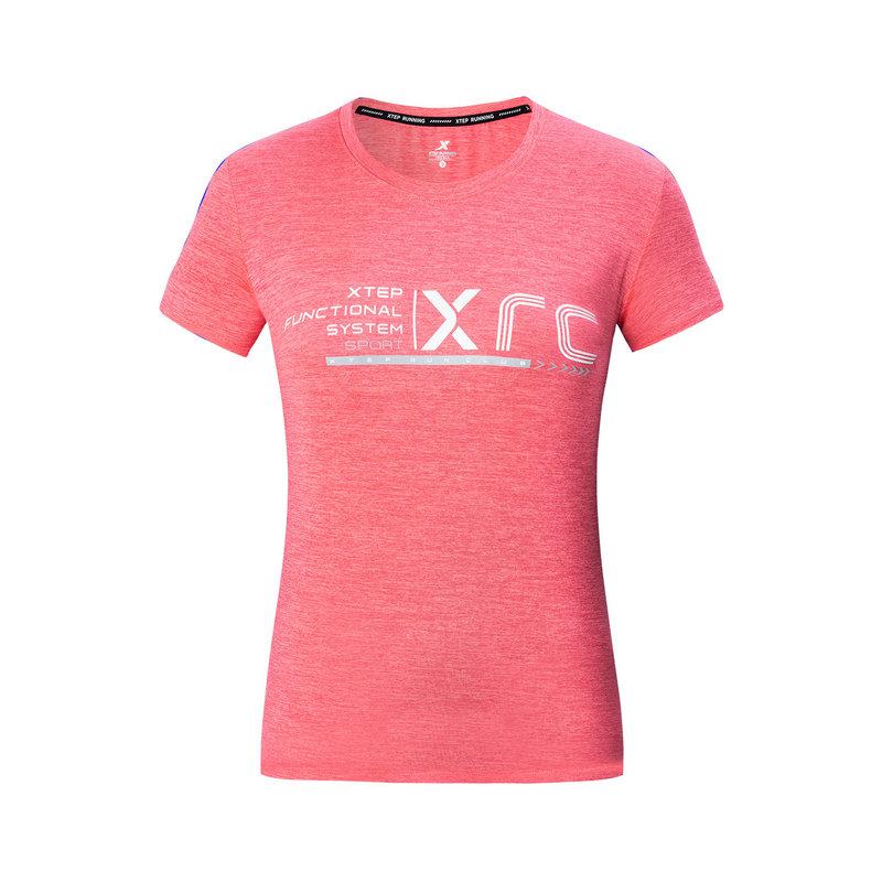 特步 专柜款 女子健身跑步短袖春季新款透气时尚百搭针织衫T恤981228012730