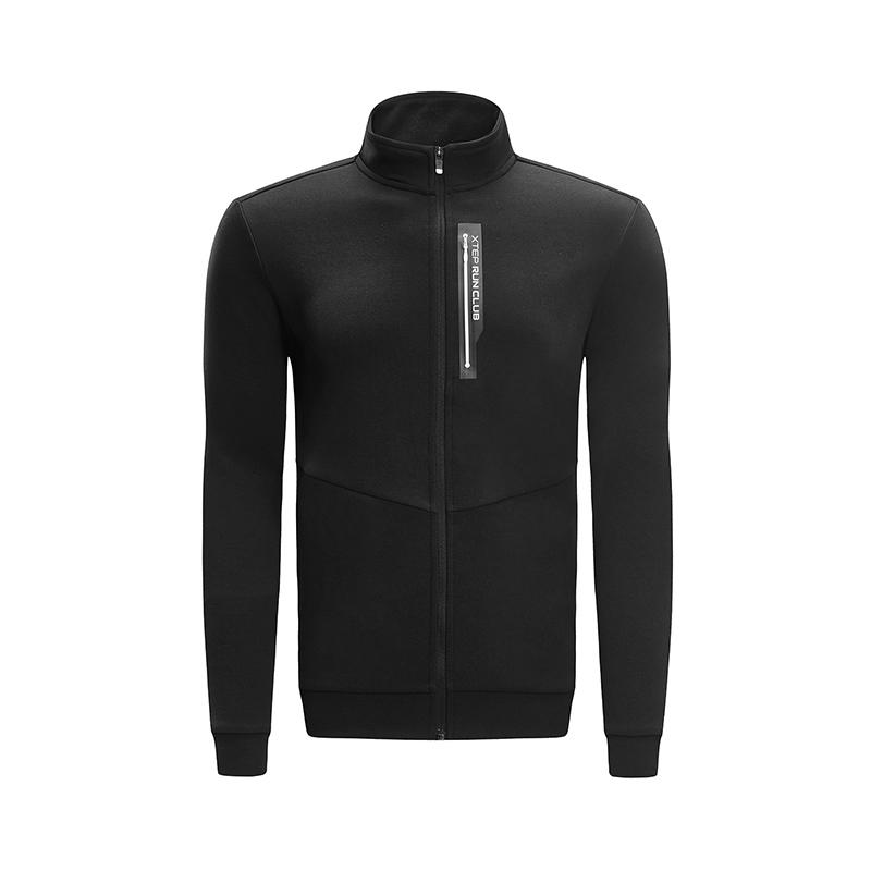 特步 专柜款 男子外套 2019春季新款轻便舒适针织拉链运动上衣981129061803