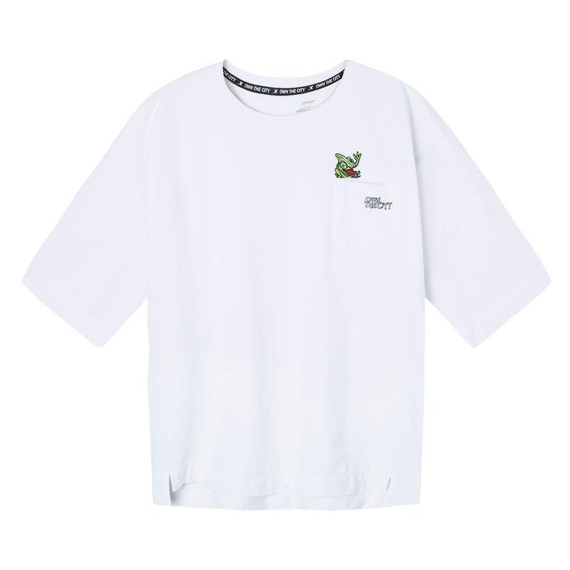特步 女子短袖针织衫 2019春夏新款舒适宽松休闲五分袖881228019225
