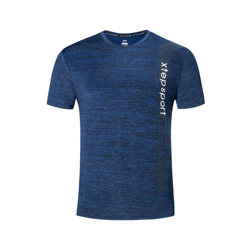特步 男子短袖针织衫 2019夏新款跑步健身透气轻薄排汗运动T恤881129019456