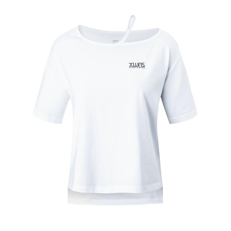 【3件99元】特步 女子短袖针织衫 2019夏新款运动吊带T恤宽松露肩款短装881228019057