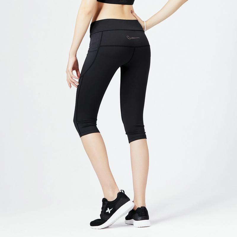 紧身裤跳舞_特步女子专业紧身裤2019夏新款跑步健身瑜伽舞蹈力运动裤